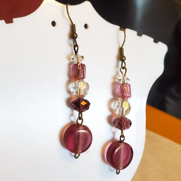 """2"""" Bronze Hook Glass Bead Layer with Disc Earrings"""